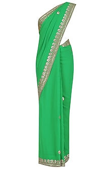 Green Gota Patti Embroidered Saree and Yellow Blouse Set
