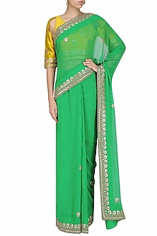 Green Gota Patti Embroidered Saree and Yellow Blouse Set by Surendri by Yogesh Chaudhary