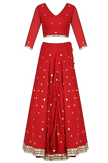 Red Mirror Embroidered Lehenga and Blouse Set by Surendri by Yogesh Chaudhary