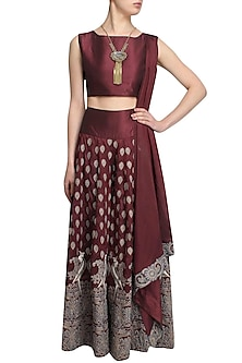 Wine Mithu Embroidered Crop Top and Sharara Set by Surendri by Yogesh Chaudhary