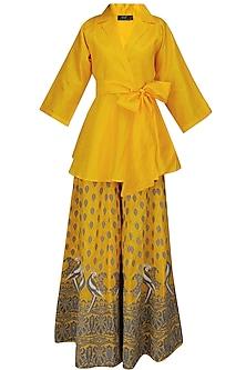 Yellow Mithu Embroidered Kimono Top and Sharara Set by Surendri by Yogesh Chaudhary