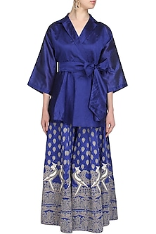 Blue Mithu Embroidered Kimono Top and Sharara Set by Surendri by Yogesh Chaudhary