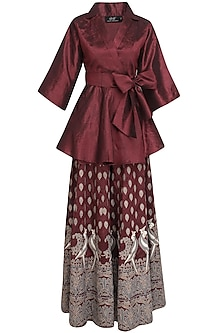 Wine Mithu Embroidered Kimono Top and Sharara Set