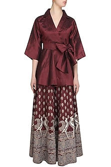 Wine Mithu Embroidered Kimono Top and Sharara Set by Surendri by Yogesh Chaudhary