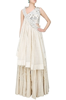 Off White Foil Embroidered Front Flared Blouse and Lehenga Skirt Set by Surendri by Yogesh Chaudhary