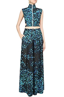 Blue Pixel Printed Crop Top and Pants Set by Surendri by Yogesh Chaudhary