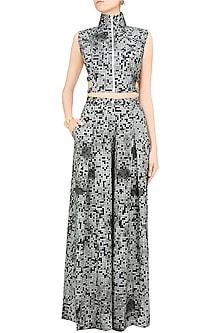 Grey Pixel Printed Crop Top and Pants Set by Surendri by Yogesh Chaudhary