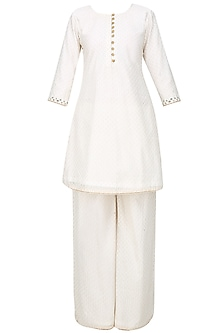 Off White Foil Embroidered Kurta and Sharara Pants Set