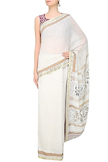 Off White Foil Work Chanderi Saree and Wine Blouse Set by Surendri by Yogesh Chaudhary