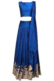 Classic Blue Mithu Embroidered Crop Top and Lehenga Set by Surendri by Yogesh Chaudhary