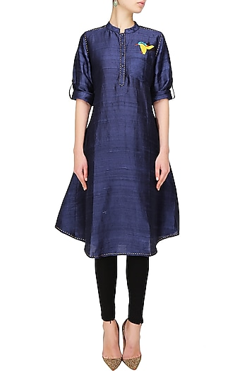 Blue Thread Embroidered Kingfisher Motif Tunic by Surendri by Yogesh Chaudhary