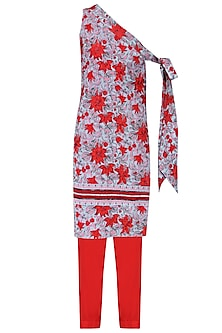 Red and Blue Floral Print Embroidered Tunic with Straight Pants