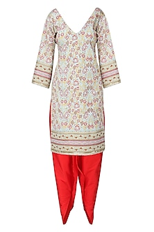 Powder Blue Embroidered Kurta with Red Dhoti Pants Set
