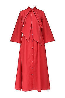 Red Tie-Up Flared Midi Dress