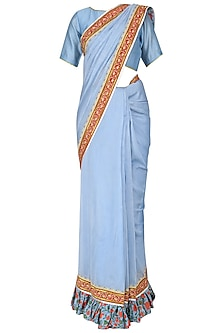 Powder Blue Hand Printed and Embroidered Saree with Blouse