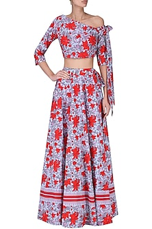 Red and Blue Floral Printed One Shoulder Crop Top with Lehenga Skirt by Surendri by Yogesh Chaudhary