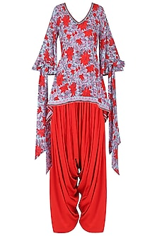 Red and Blue Floral Printed and Embroidered Kurta with Red Cowl Pants
