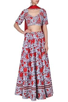 Red and Blue Floral Printed and Embroidered Lehenga Set by Surendri by Yogesh Chaudhary