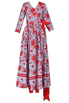 Red and Blue Floral Printed Anarkali Set by Surendri by Yogesh Chaudhary