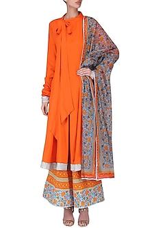 Orange Metallic Trim Kurta with Floral Print Palazzo Pants Set by Surendri by Yogesh Chaudhary