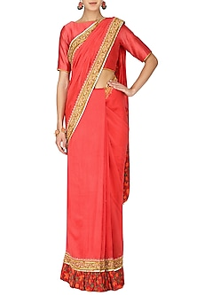 Red Hand Printed and Embroidered Saree with Blouse by Surendri by Yogesh Chaudhary