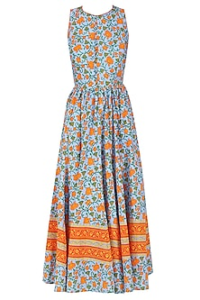 Blue Hand Printed Floral Maxi Dress