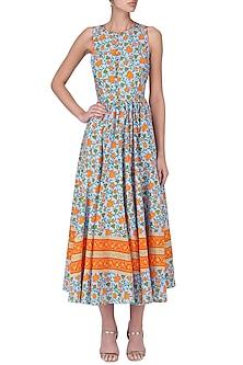 Blue Hand Printed Floral Maxi Dress by Surendri by Yogesh Chaudhary