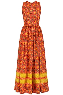 Red Hand Printed Floral Maxi Dress