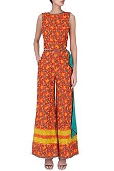 Red Floral Printed Jumpsuit by Surendri by Yogesh Chaudhary