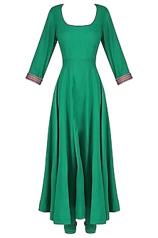 Green Floral Hand Printed Anarkali Set