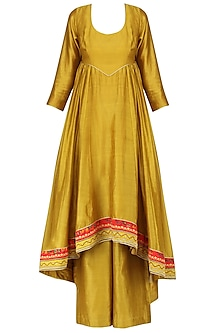 Mustard Yellow Asymmetrical Hand Printed Kurta Set