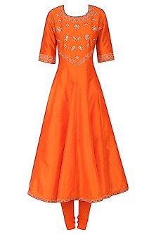 Orange Printed and Embroidered Kurta Set by Surendri by Yogesh Chaudhary