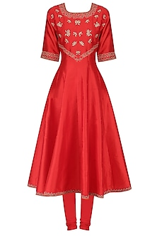 Red Printed and Embroidered Kurta Set by Surendri by Yogesh Chaudhary