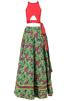 Green Flared Hand Printed Lehenga Set