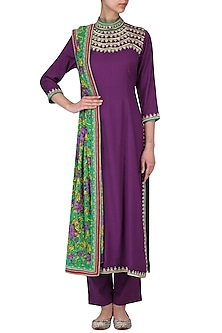 Purple Hand Printed Straight Kurta Set by Surendri by Yogesh Chaudhary