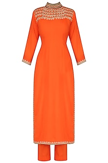 Orange Straight Floral Embroidered Kurta