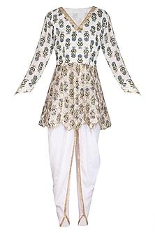 Ivory Gota Work & Block Printed Kurta Set by Yuvrani Jaipur