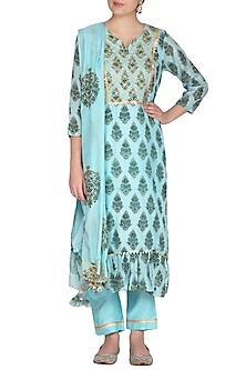 Blue Block Printed & Embroidered Kurta Set by Yuvrani Jaipur