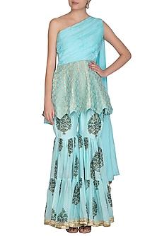 Blue Block Printed & Embroidered Sharara Pants With Peplum Top by Yuvrani Jaipur