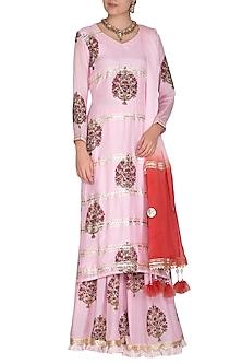 Pink Block Printed Sharara Set by Yuvrani Jaipur