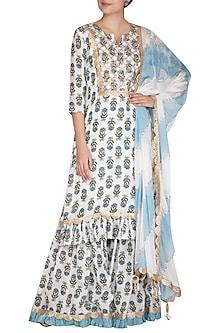 Blue Block Printed & Leheriya Sharara Set by Yuvrani Jaipur
