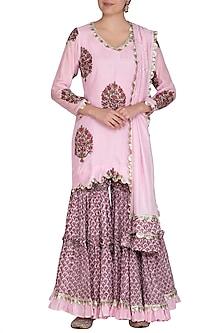 Pink Block Printed Tiered Sharara Set by Yuvrani Jaipur