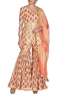 Peach Block Printed & Embroidered Sharara Set by Yuvrani Jaipur