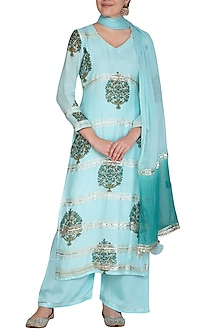 Blue Block Printed & Embellished Kurta Set by Yuvrani Jaipur