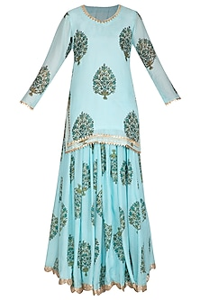 Blue Block Printed Short Kurta With Lehenga Skirt by Yuvrani Jaipur