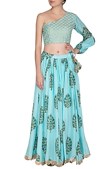 Blue Block Printed One Shoulder Top With Flared Skirt by Yuvrani Jaipur