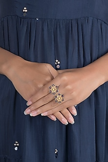 Gold Polish Enameled Floral Ring by Zariin