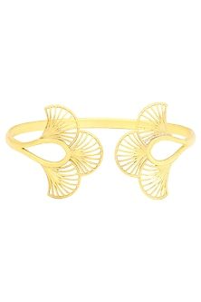 Gold Plated Three Petal Open Bangle by Zariin