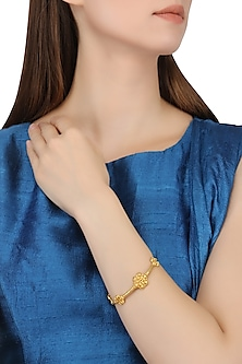 Gold Plated Flower Motif Bangle