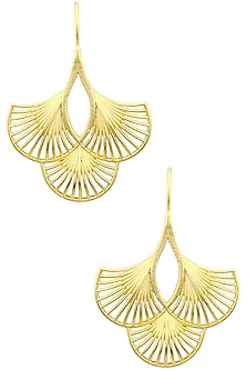 Gold Plated Three Petal Earrings by Zariin